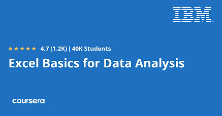 Free Coursera course to learn Excel for Data Analysis