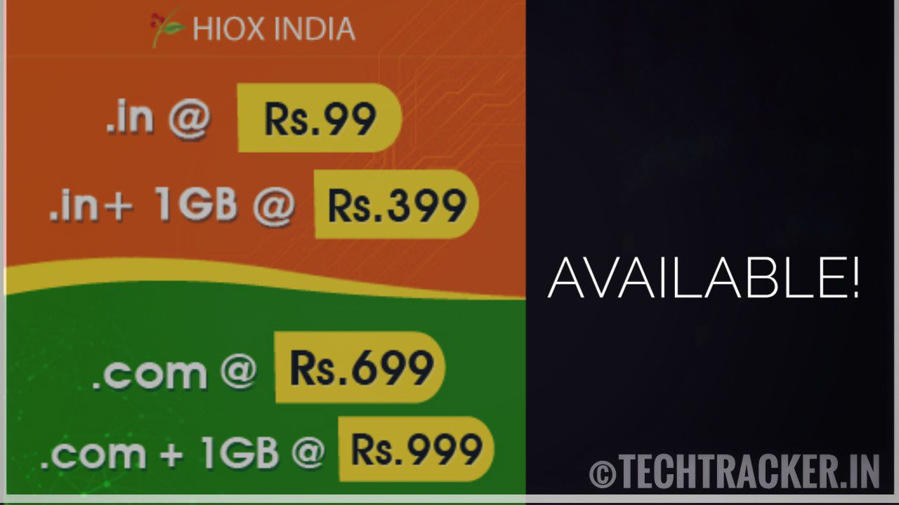 HIOX India - Get .in domain at 99rs for 1 year!