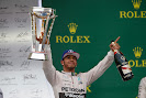 Lewis Hamilton celebrates his win and 2015 F1 drivers title