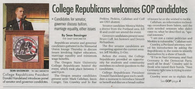 OSU Barometer front page Story College Republicans ask about gay marriage