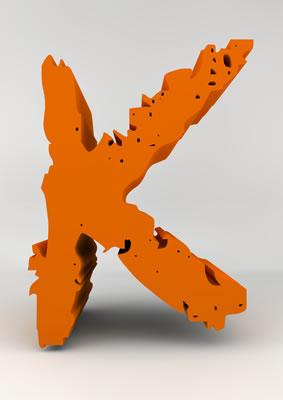 lettre 3D chiffron de craie orange - K - images libres de droit