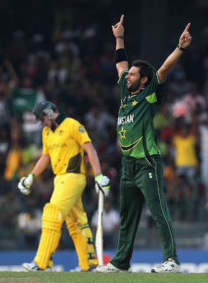 Shahid Afridi after the 2011 World Cup Pakistani victory over Australia