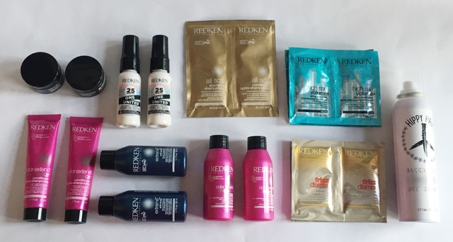 selection of redken products and hippy club dry shampoo to try