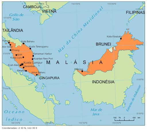 malásia mapa Blog de Geografia: Mapa da Malásia malásia mapa