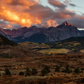 Mount Sneffels Sunset Highlights by Norma Brandsberg - Landscapes Mountains & Hills
