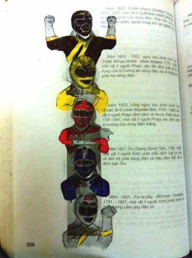 vẽ bậy 5 anh em siêu nhân sách giáo khoa