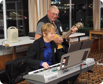 Our Events Manager, Diane Lyons, playing and singing along with her Yamaha PSR-3000 keyboard. Photo courtesy of Dennis Lyons.