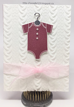 Linda Vich Creates: Something For Baby. A baby onesie adorns a cable knit embossed card front, with matching bib, booties, and sentiment inside the card.