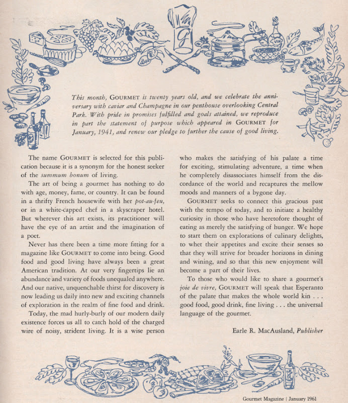 Gourmet Magazine Editorial January 1961