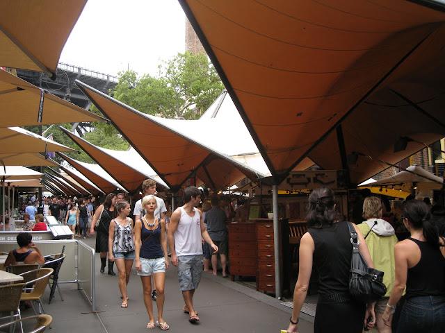 "Open market in the ""Rocks"" section of Sydney"