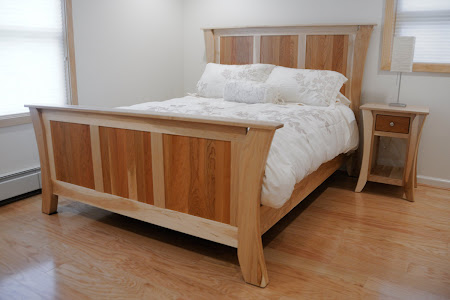kyoto bed frame in natural maple and cherry