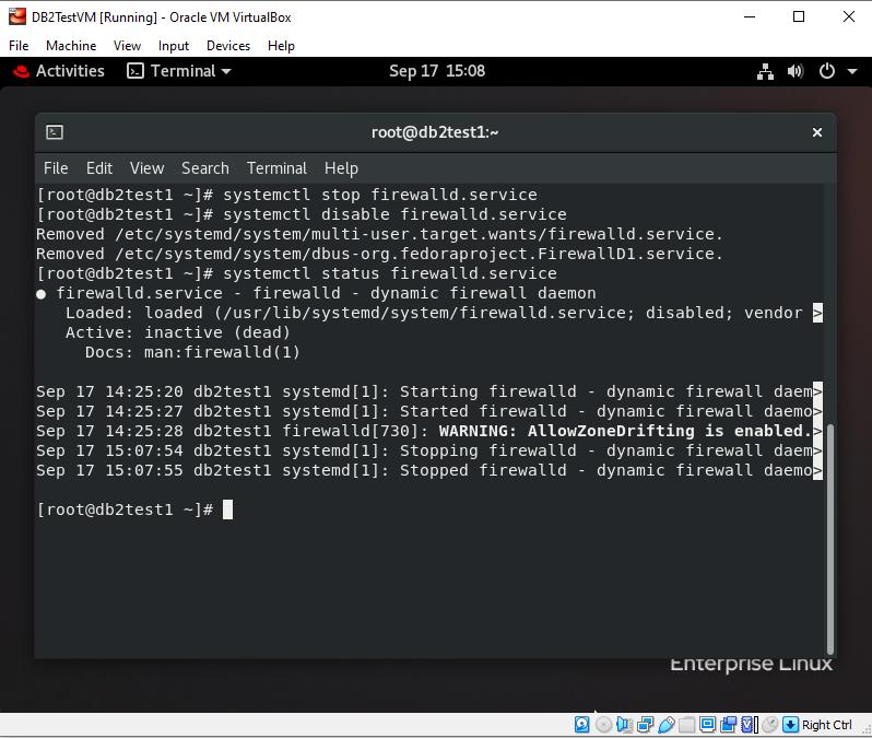 RHEL 8.2 disable firewall service
