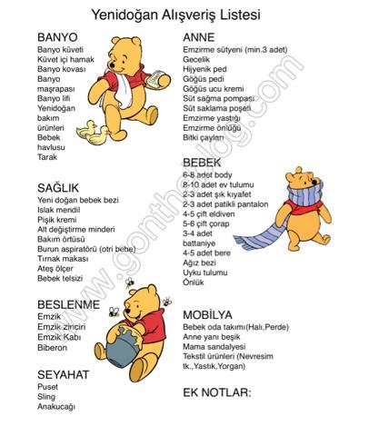 yenidoğan alışveriş listesi