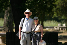 Mom and dad in the archaeological site in Olympia