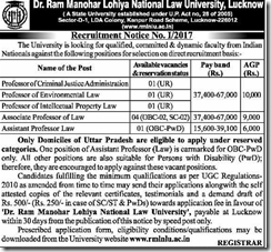 RMLNLU Notification 2017 www.indgovtjobs.in