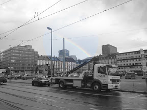 we reported getting bikejacked to the Polizei and on the way back.... non-double rainbow!