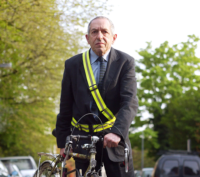 "Dr Mayer Hillman with his bike outside his home in London. In an interview on 26 April 2018 with The Guardian, Dr. Hillman says, ""We're doomed. The outcome is death, and it's the end of most life on the planet because we're so dependent on the burning of fossil fuels. There are no means of reversing the process which is melting the polar ice caps. And very few appear to be prepared to say so."" Photo: John Alex Maguire / Rex Features"