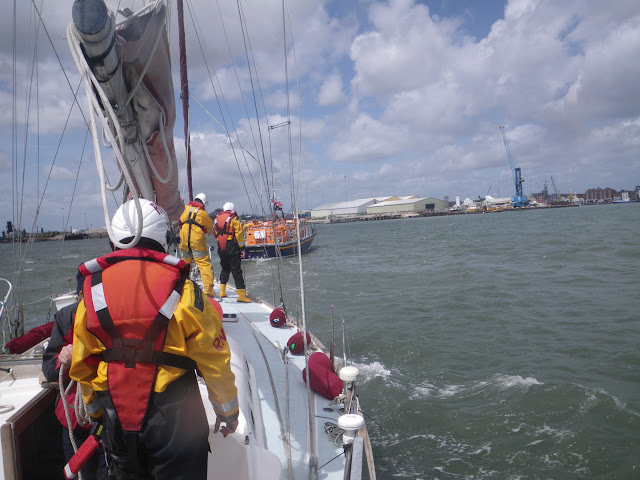 22 May 2011 – crew's eye view of ALB towing yacht towards Poole Quay