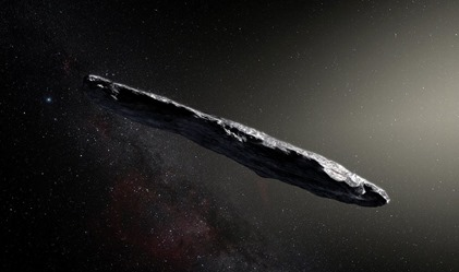 Artist's impression of the interstellar asteroid `Oumuamua