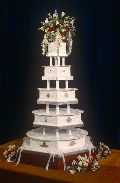 The wedding cake on display at Prince Charles and Diana Spencer's 1981 wedding.