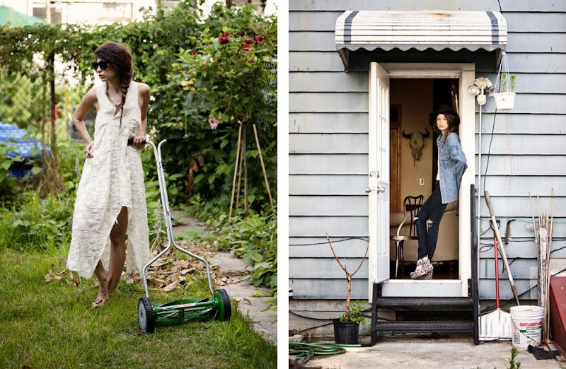 clockwise l to r studio portrait backyard bill denim blouse