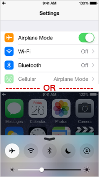 Set iPhone 6 into Airplane Mode
