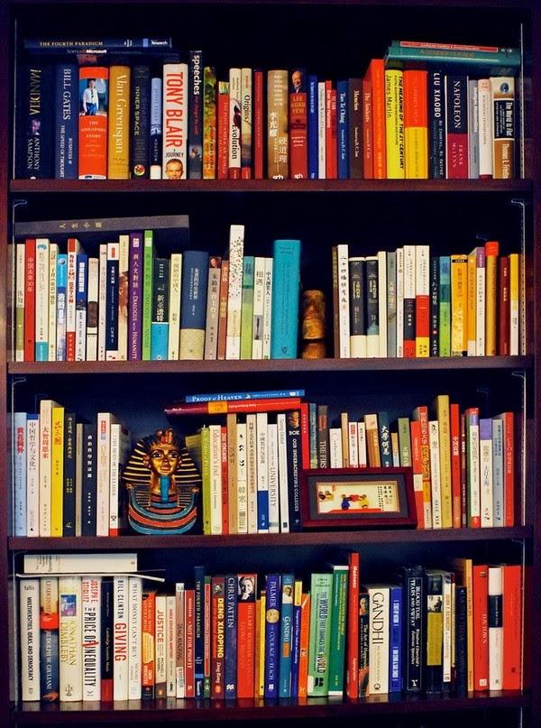 書架上收集了不少龍應台的書。沈祖堯雖然沒有看很多故事書和散文,但特別喜歡看龍應台的書,他們還是好朋友。