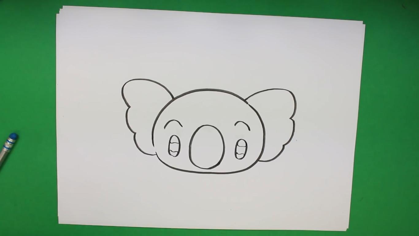 como dibujar un koala kawaii fácilmente