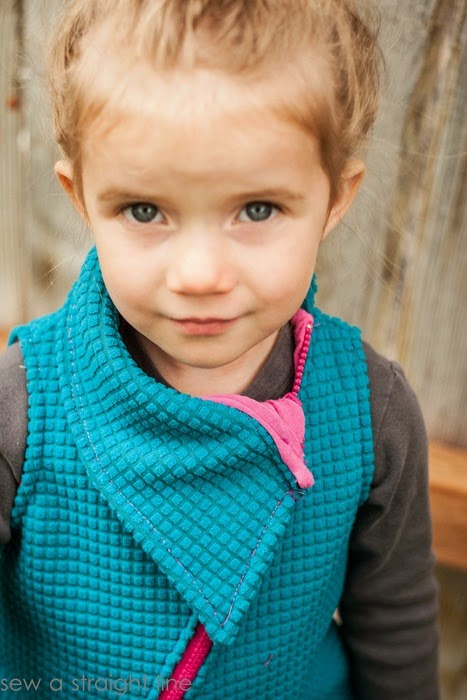 Funky vest collar - Fresh Bloom Frock by Blank Slate Patterns sewn by Sew a Straight Line - Girls dress sewing pattern