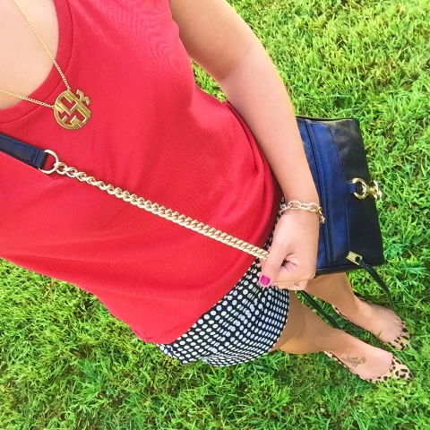 how to mix patterns, monogram necklace, mini mac purse