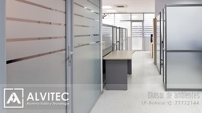 Divisor de aluminio y vidrio para oficinas