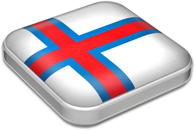 Flag of Faroe Islands with metallic square frame