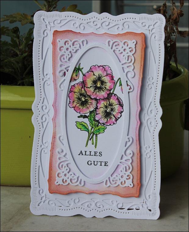 Frühlingskarte Grußkarte Ostern Frühling Spellbinders Stiefmütterchen