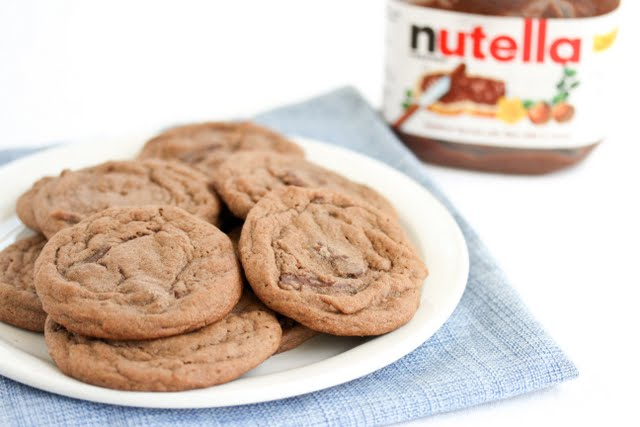 photo of a plate of Double Nutella Chunk Cookies