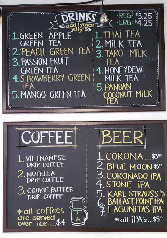 photo of the chalkboard menu