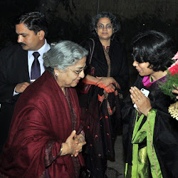 Jaspreet greets Mrs Gursharan Kaur as Upinder Singh looks on
