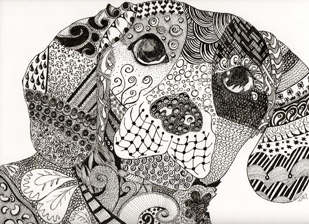 Zentangle Patterns Animals  Naked Dog Of Zen Before His Coat Of Many  Colours