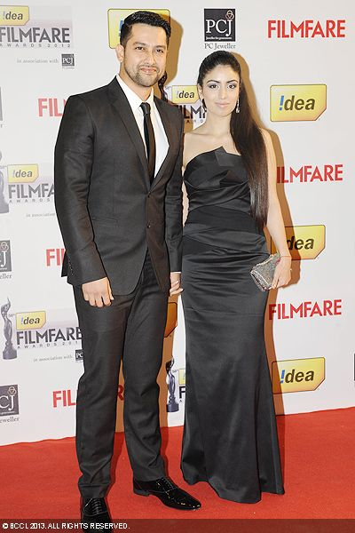 The gorgeous couple, Aftab Shivdasani and his girlfriend Nin Dusanj, posed for the cameras during the 58th Idea Filmfare Awards 2013, held at Yash Raj Films Studios in Mumbai.Click here for:<br />  58th Idea Filmfare Awards<br />