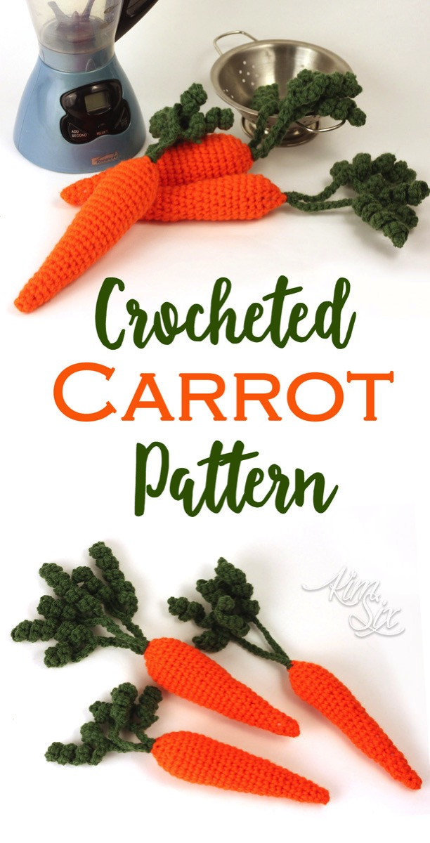 Easy Crocheted Carrot Amigurumi Pattern. A great addition to your play food collection or for use as spring or easter decor