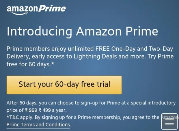 (Now in India) Amazon Prime - Get Free Delivery On All Products,Early Access to Lightning Deals & Much More