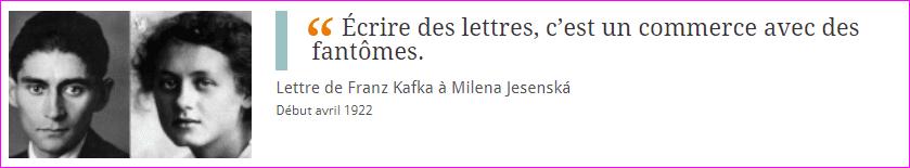 Lettre de Franz Kafka à Milena Jesenská