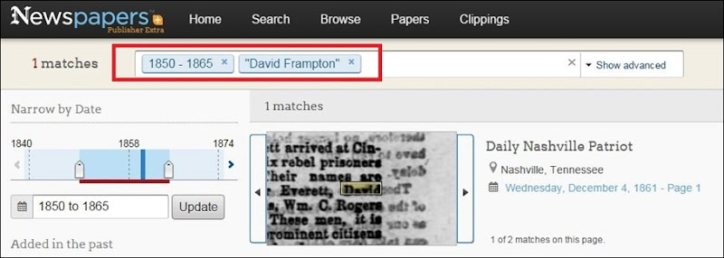 Frampton search on newspaperscom