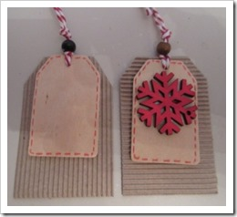 Red Snowflake Wooden Tag