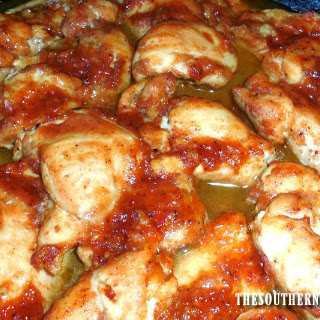 IRON SKILLET BAKED CHICKEN THIGHS.