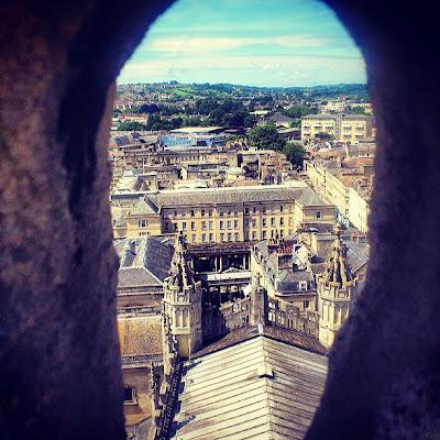 Blick auf Bath von der Bath Abbey