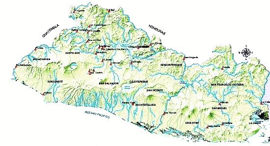 Mapa de El Salvador con sus ríos - Mapa de El Salvador