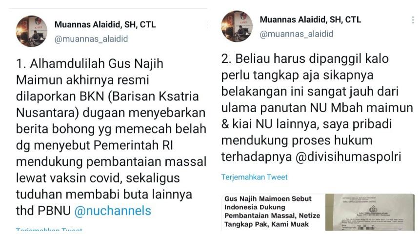 Gus Najih Maimun Dipolisikan Atas Tuduhan Ujaran Kebencian, Ini Kata Muannas Alaidid
