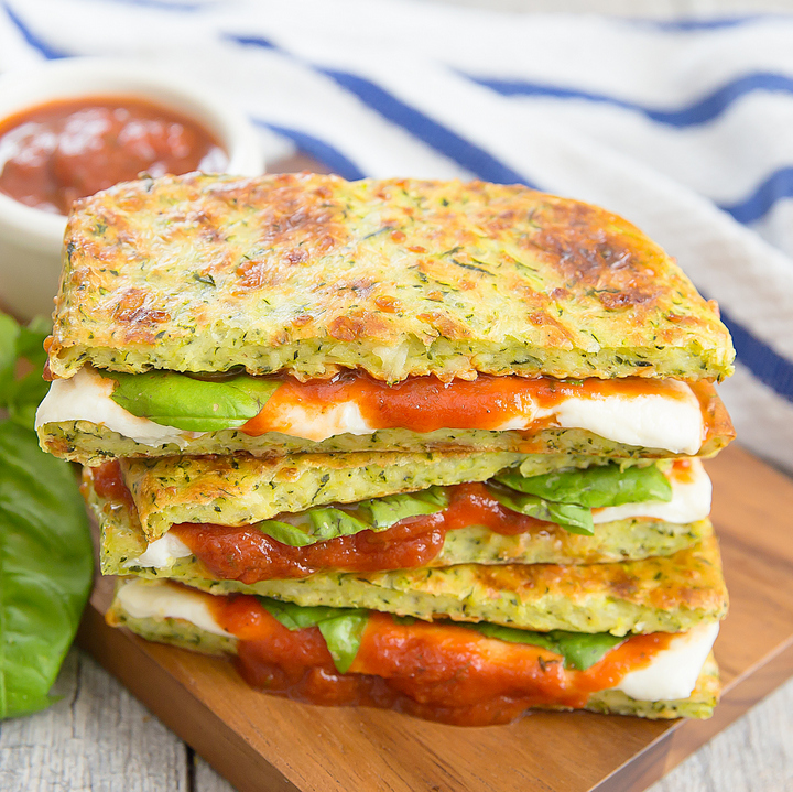 close-up photo of Zucchini Crusted Pizza Grilled Cheese Sandwiches