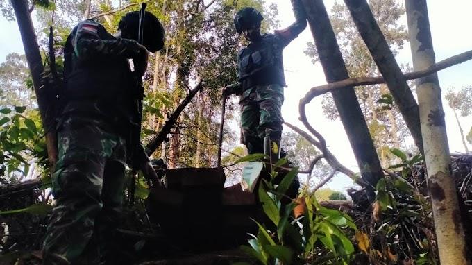 Patroli Patok, Satgas Yonif 407 Temukan Kayu Olahan Diduga Hasil Pembalakan