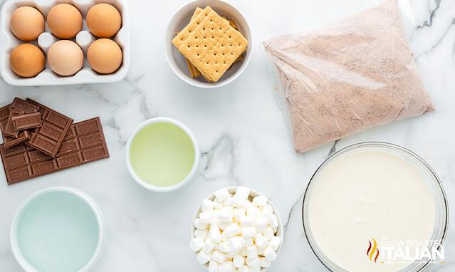Marshmallow Smores Cake ingredients
